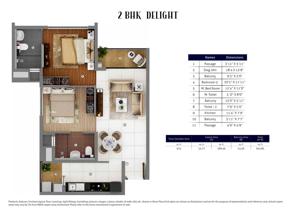 2 BHK Delight : 915 Sq.Ft.