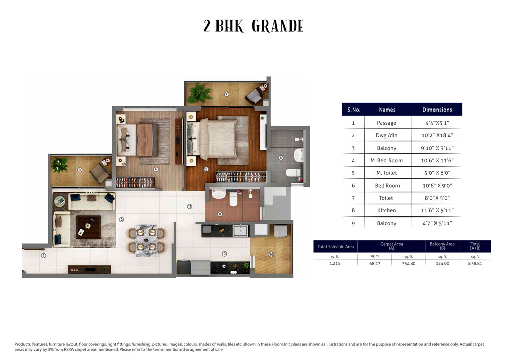 2 BHK Grande : 1215 Sq.Ft.