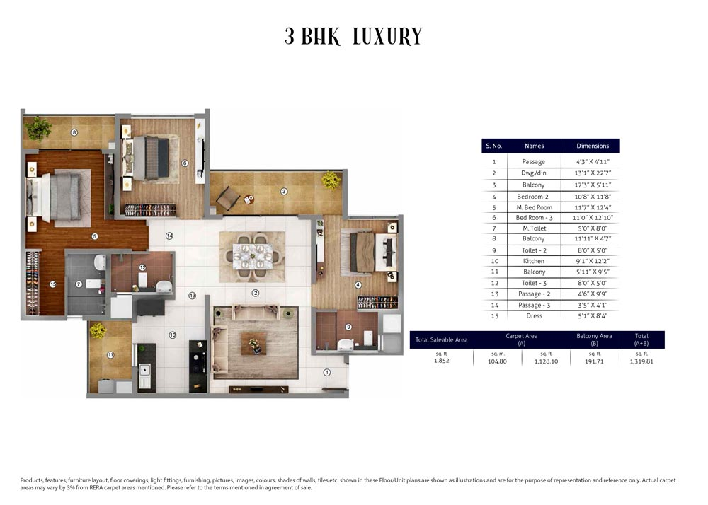 3 BHK Luxury : 1852 Sq.Ft.